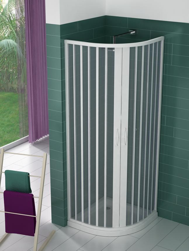 Box doccia a soffietto semicircolare apertura centrale a - Box doccia salvaspazio ...
