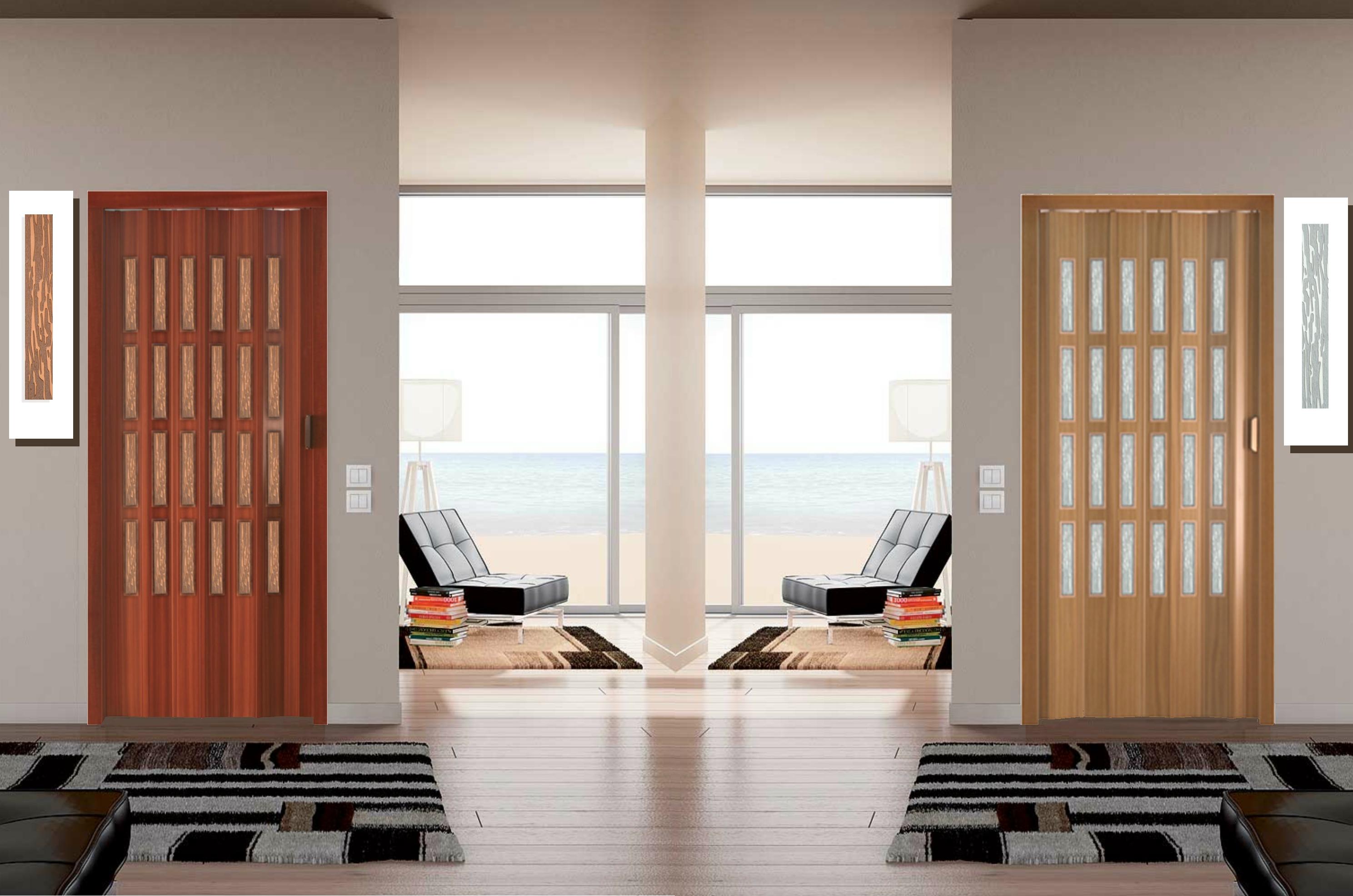 Porta a soffietto linea finto legno e laccati con vetrini for Prezzo finestre pvc al mq
