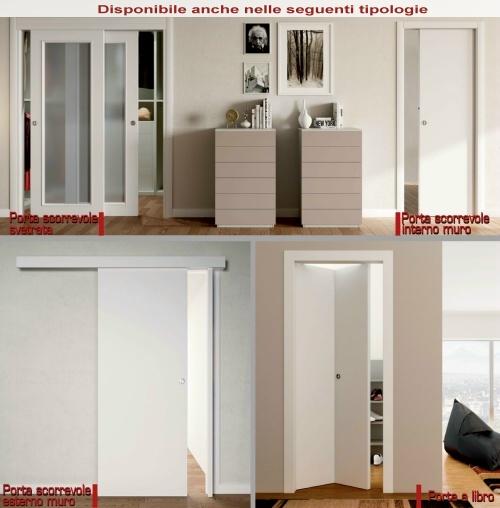 porta interna legno con 1 inserto alluminio verticale varie misure e