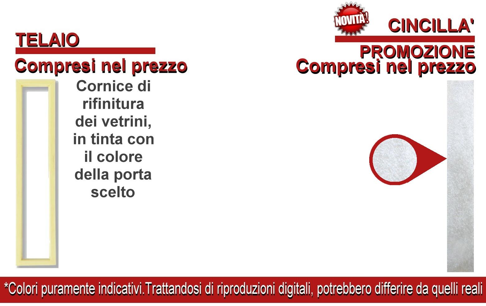 Novita 39 porta a soffietto in pvc con vetrini modello for Prezzo finestre pvc al mq